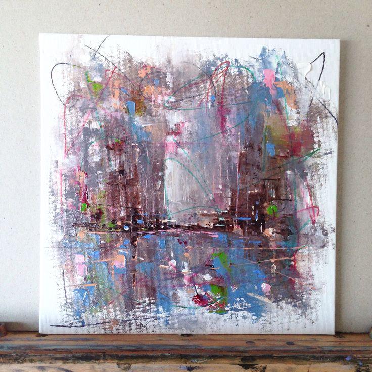 Dan Wellington 'Metropolis' oil and sharpie on canvas 2016
