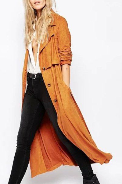 Fashionable Long Sleeves Turn-Down Collar Suede Trench Coat For Women