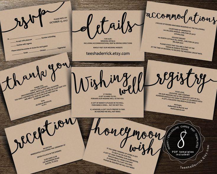 Wedding Insert cards PDF template (Instant download), Enclosure card, registry, Honeymoon wish, wishing well, Kraft rustic theme (TED406_1) by TeeshaDerrick on Etsy