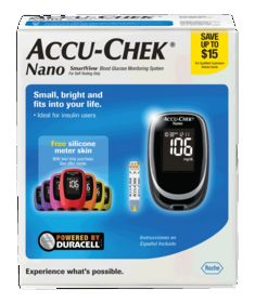 Accu-Chek Nano Blood Glucose Meter KitSmall, bright and fits into your life. Advanced accuracy with ACCU-CHEK SmartView test strips as tested against a 23% tighter specification. Small, sleek design to fit in the palm of your hand. Bril...