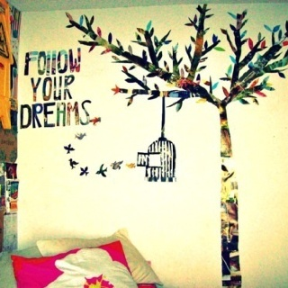 follow your dreams cut magazine wall mural