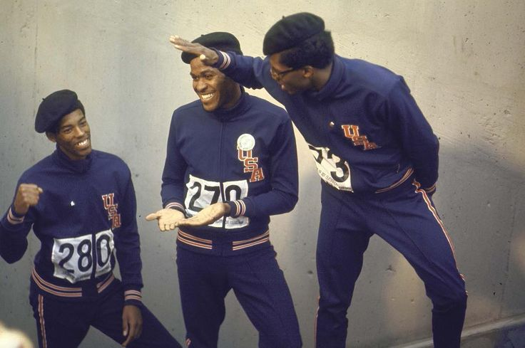 Ron Freeman, Lee Evans and Larry James at the 400m Olympic podium in Mexico, 1968