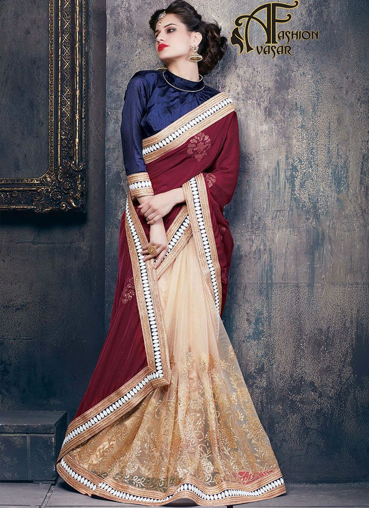 net velvet saree.Vogue and pattern could be at the peak of your elegance as soon as you attire this Dark Cream & Maroon Velvet Saree. The ethnic Crystals