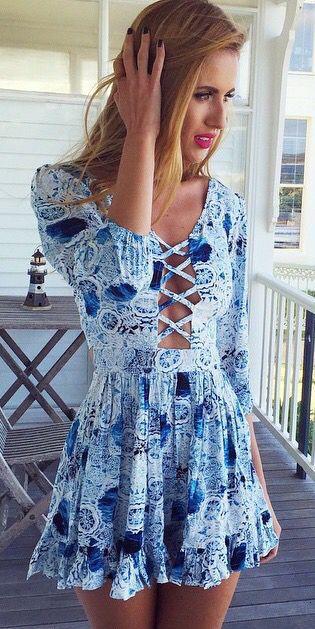 #street #style blue pattern print dress @wachabuy