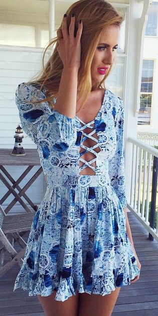 #summer #fashion / blue pattern print dress
