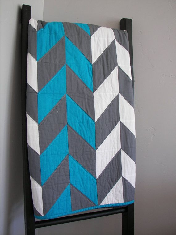 Modern Quilt, herringbone quilt, baby quilt - Beautiful gray, blue, and white quilt. Made to order and custsomizable.
