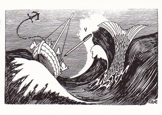 """""""Ja samassa silmänräpäyksessä ilma oli täynnä jyminää ja valkoista kuohua. Valtava hyökyaalto kohotti Seikkailun harjalleen ja sinkosi pitkäsiimalaatikon ylösalaisin veneen pohjalle. Sitten kaikki hiljeni yhtä äkkiä. Vain poikkinainen siima riippui alakuloisesti laidan yli, ja valtavat pyörteet vedessä osoittivat hirviön tietä."""" Taikurin hattu"""