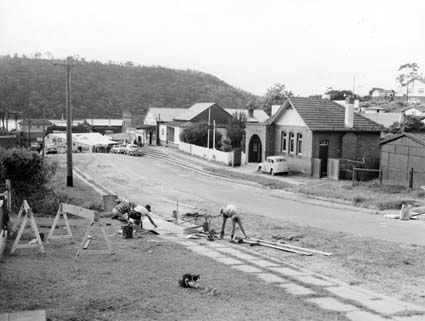The Post Office (right) at Brooklyn, a holiday resort and fishing rondezvous on the Hawkesbury River, 30 miles north of Sydney. 1959