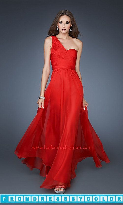 $173 Black Prom Dresses - Long Chiffon One Shoulder Gown at www.promdressbycolor.com #Black Prom Dresses