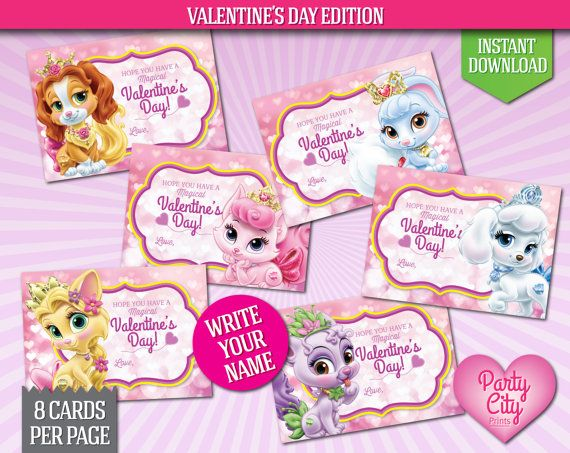 INSTANT DOWNLOAD Printable Disney Valentines Princess Palace Pets Cards
