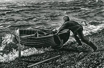 Howard Phipps, Chesil Boatman, Wood engraving