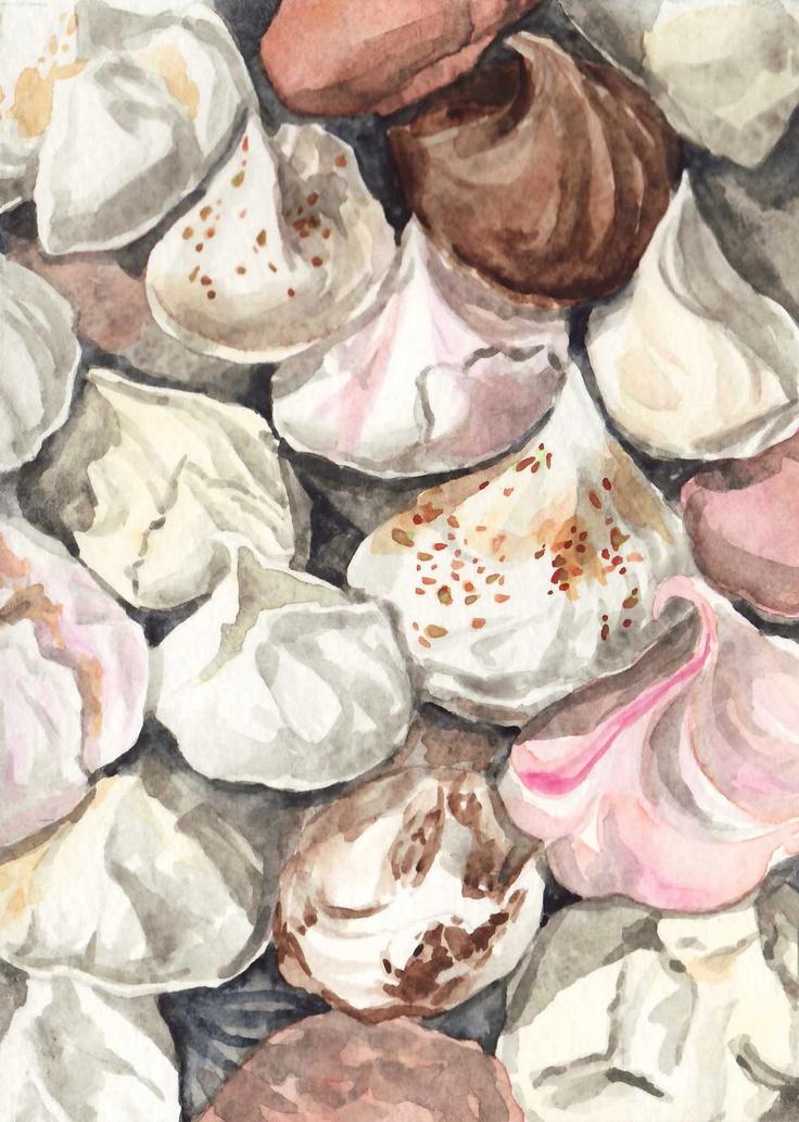 Meringues French Cookies Macarons ORIGINAL Watercolor Painting 5 x 7 Paris Patisserie - FREE Shipping. $15.00, via Etsy.