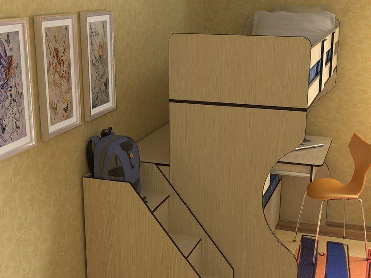 Детская двухъярусная кровать Дуэт-4 бук/синий - производитель Славмебель