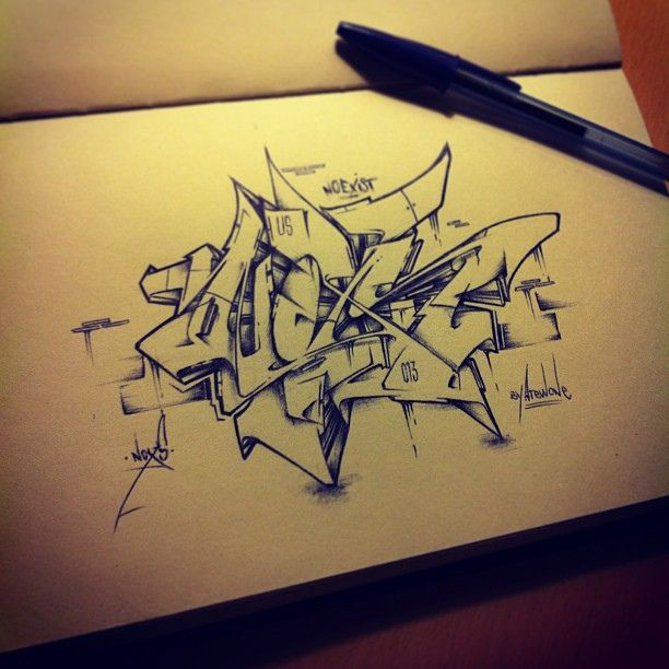 No Exist By Noxs (Atewone) ::uscrew:: #graffiti #sketch #letters #pen #style #wildstyle #instagraff #hiphop