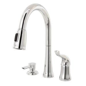 Delta, Kate Single Handle Pull Down Sprayer Kitchen Faucet In Chrome  Featuring MagnaTite Docking With Soap Dispenser, At The Home Depot   Mobile