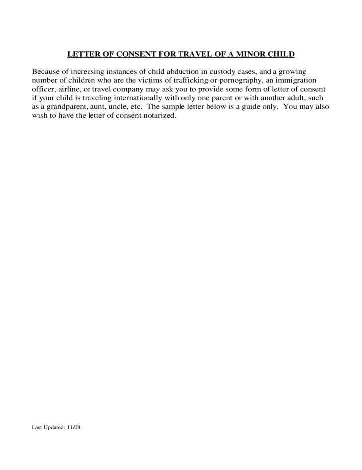 letter consent for travel minor child department permission travelling livecareer