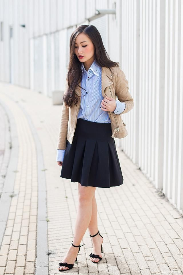 Tendencias Primavera-Verano 2014 camisa azul a rayas falda negra