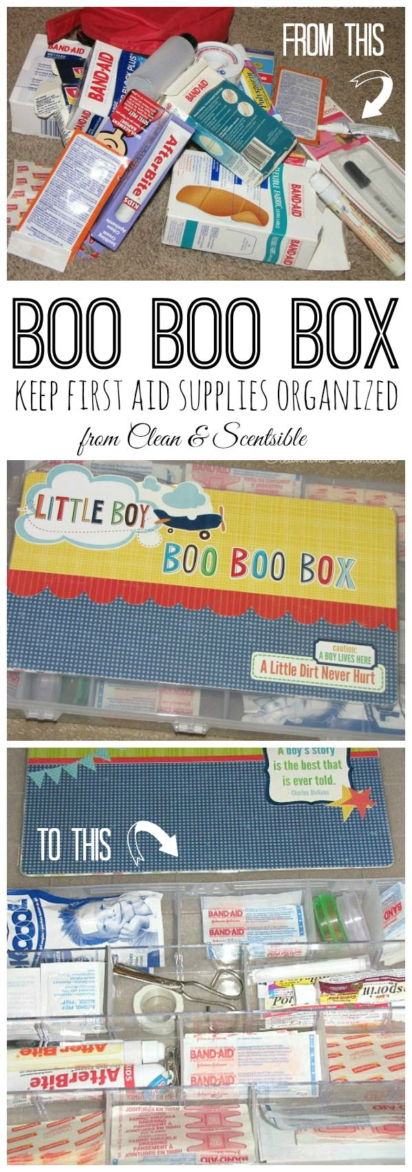 Boo Boo Box - Such a great way to get all of those first aid supplies organized and easily accessible!
