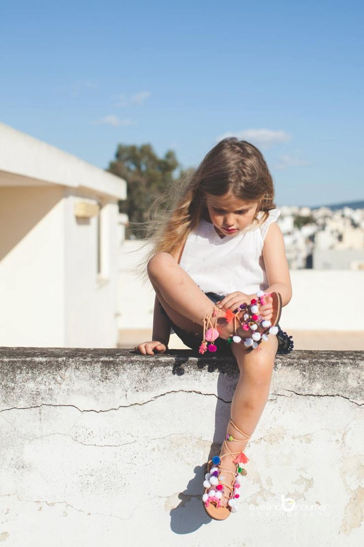 "little girl lace up /tie up gladietor sandals/aelia greek sandals/boho /pom pom sandals /""Anastasia white/ by aeliasandals on Etsy"