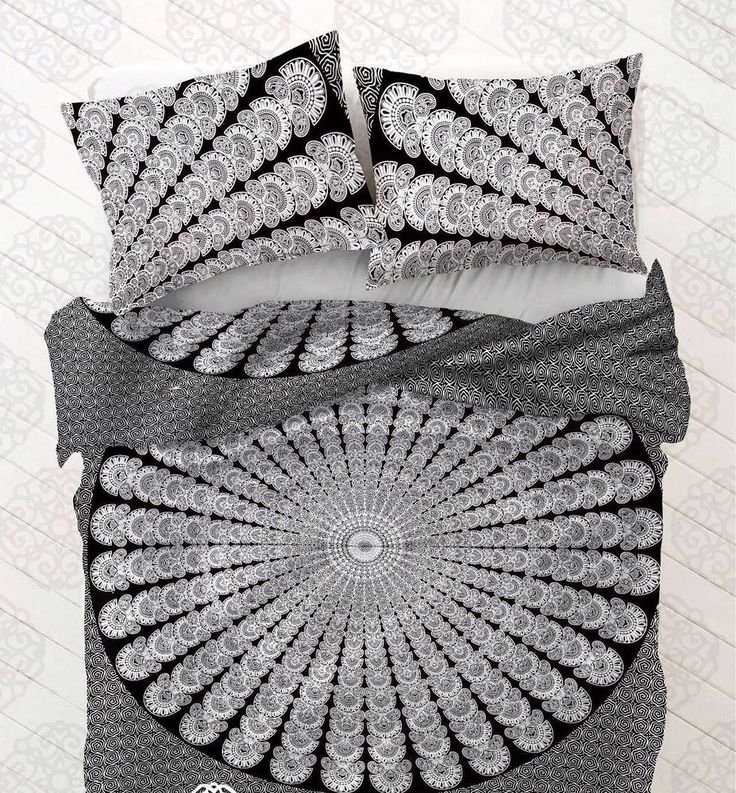 Indian Black & White Peacock Mandala Double Duvet Cover Set Bohemian Hippie Boho #Handmade #DuvetCover