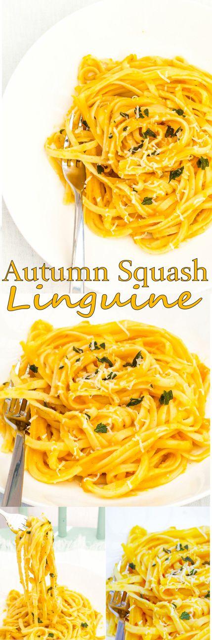 Tasty Autumn Squash Linguine with Parmesan and Basil.