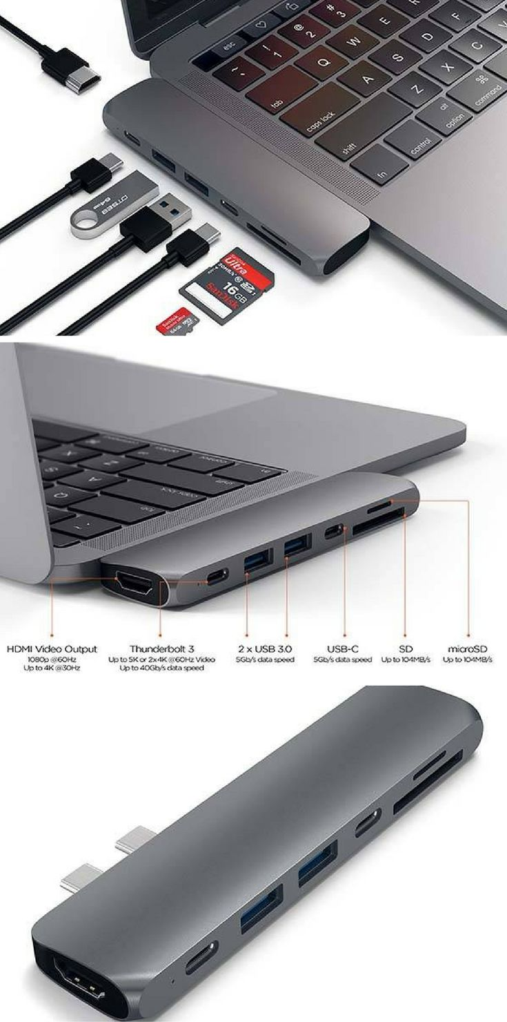Satechi Aluminum USB-C Hub Pro with HDMI, Thunderbolt and More Ports for MacBook Pro