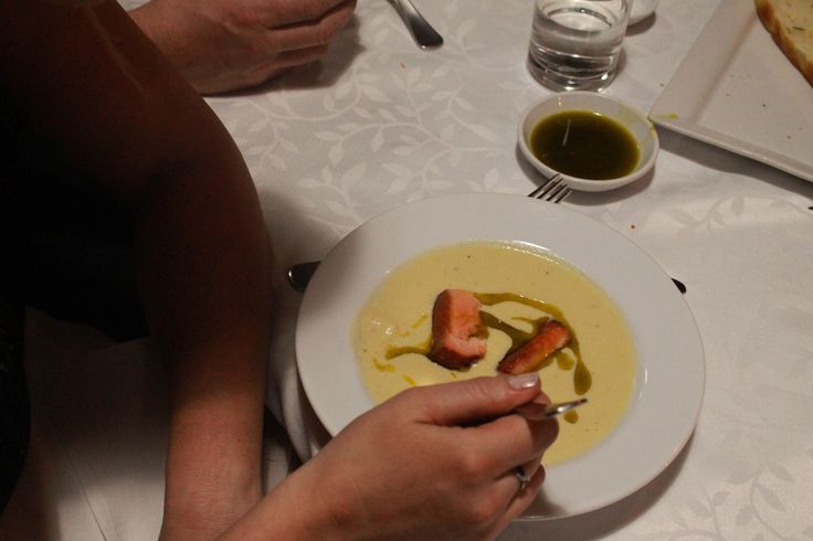 Kohirabi & Turnip soup with hot smoked salmon