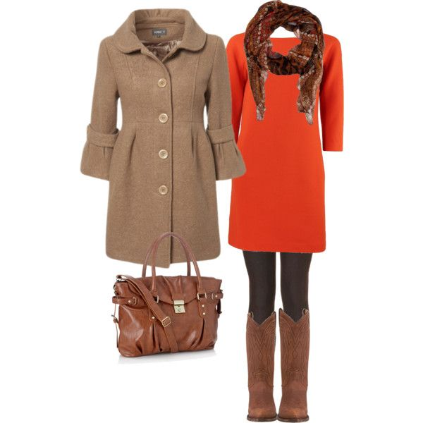 Fall colors...love the orange dress with leggings & boots