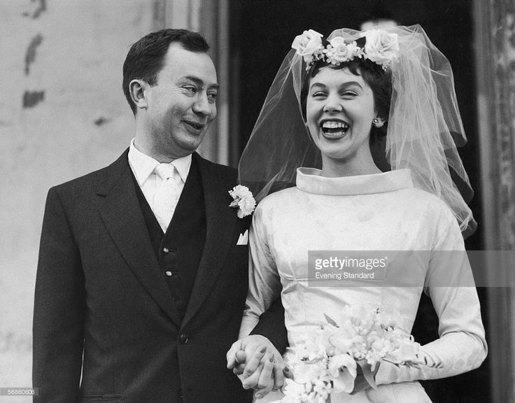 English television actor Peter Sallis with his wife Elaine Usher after their wedding at St. John's Wood Church, London, 9th February 1957.