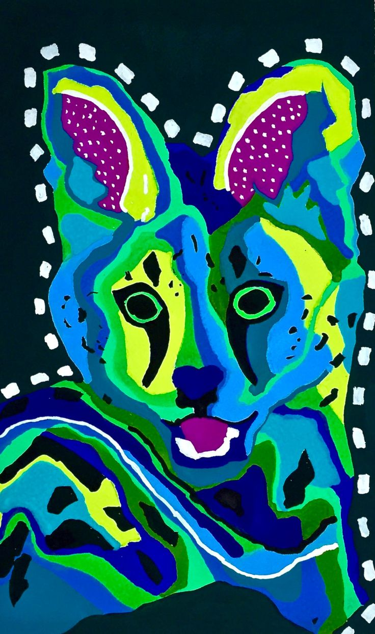 African Serval Cat Gouache Painting, Serval (Young Cat) Gouche Painting, Colorful African Serval Cat Painting by bleuwolfpaintings on Etsy