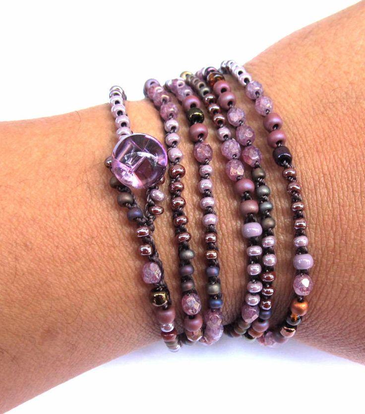 """Crochet beaded wrap bracelet, """"dark bloom"""", lavender, lariat, boho necklace, bohemian jewelry, crochet jewelry, fall fashion, ooak. $28.00, via Etsy."""