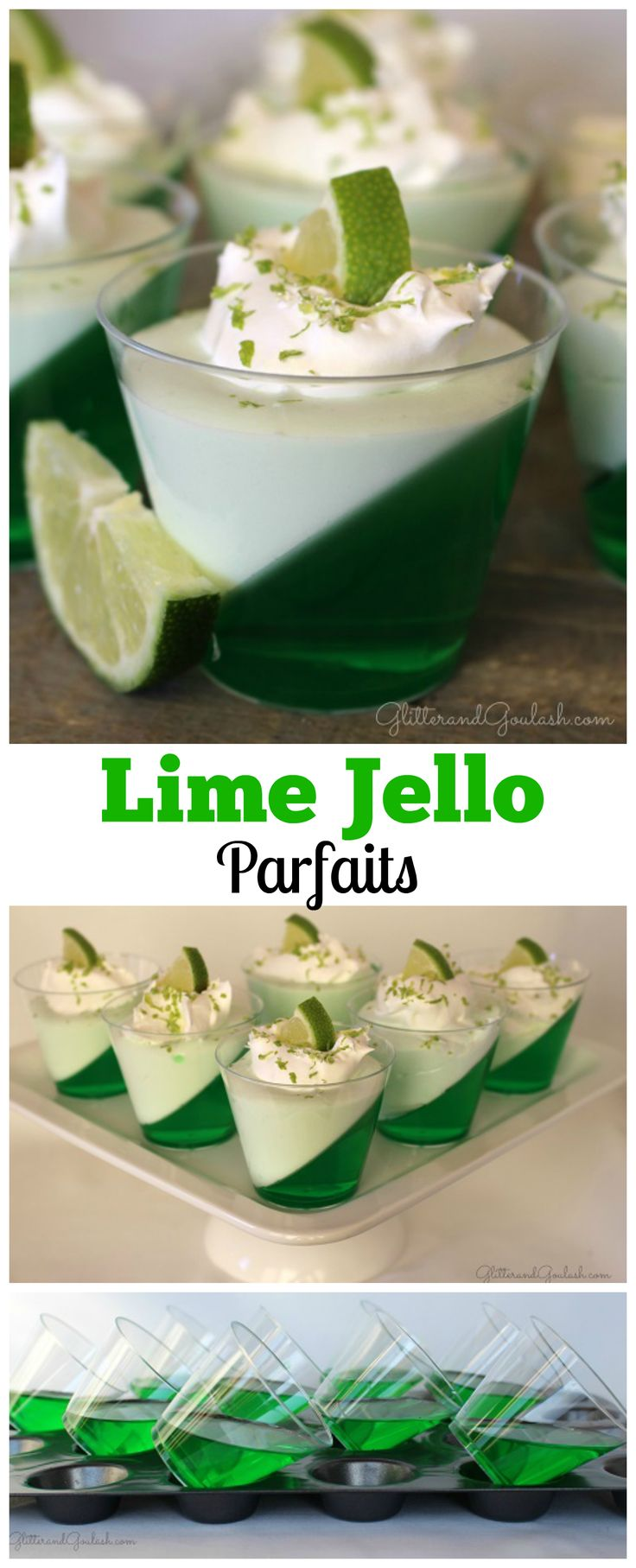 These Lime Jello Parfaits are deliciously light and refreshing. They can be served as a dessert or a side dish to any meal. Delicious and colorful! http://glitterandgoulash.com/lime-jello-parfaits/