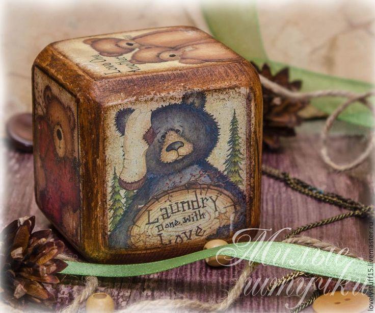 Купить Мишуткина любовь - интерьерный кубик - бежевый, кубики, кубик, кубики деревянные, кубики декупаж