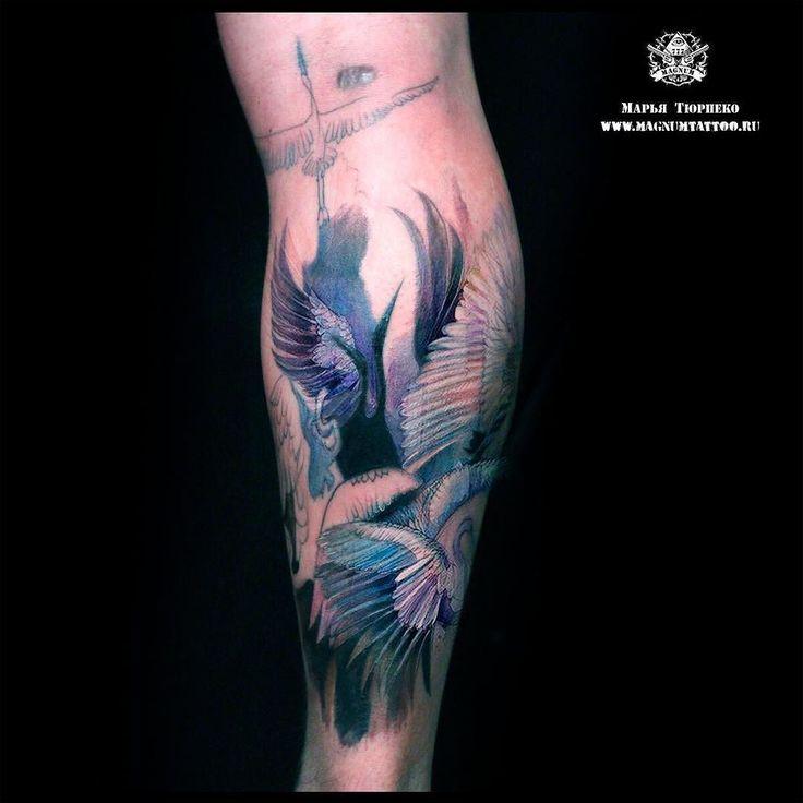 #MT_Наши_работы@magnummoscowtattoo  Весна и птицы возвращаются обратно) Вот и журавли появились на ноге Михаила в исполнении Марьи Тюрпеко. В процессе татуировки применялась анестезия поэтому цвета могут отображаться некорректно. Впереди еще один сеанс и завершение татуировки ждем с нетерпением!  #magnumtattoostudio #марьятюрпеко #магнумтату#tattoo #тату #татувмоскве #art #watercolor #watercolortattoo #акварель #журавли #журавлитату by stupenka_