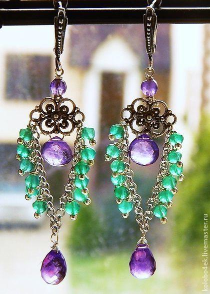Серьги ПРИВОРОТНОЕ ЗЕЛЬЕ - зелёный,фиолетовый цвет,натуральные камни