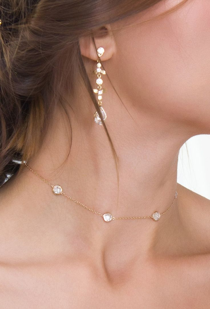 Gold Choker Necklace Bridal Jewelry Wedding Delicate