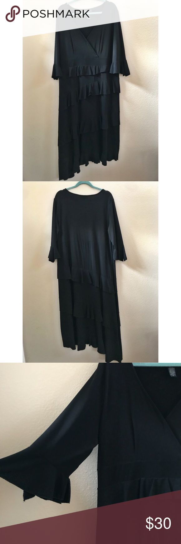 INC Black Ruffle Dress Plus Size 1X This is a black ruffle dress by INC plus size 1X. It was worn once so it's in great condition! Features an asymmetrical hem. Length from the shoulder to the shorter part of the hem is 50 inches. Fabric content featured in the photos. INC International Concepts Dresses Asymmetrical