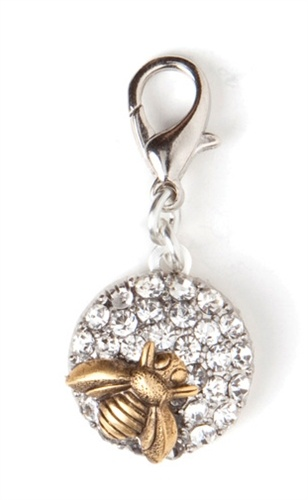 John Wind Jewelry Silver Crystal Bee Charm Enhancer by Maximal Art, antique gold bee