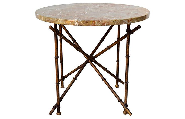 Iron Bamboo-Style & Marble Top Table Now: $780.00 							Was: $975.00