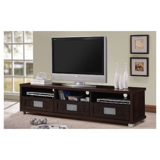 This sleek contemporary media console will be a sophisticated addition to your living room. The long low piece features clean lines, in a rich dark espresso finish that will complement your decor. The generous top surface will accommodate a large television up to 75 inches flat screen TVs , while open compartments below are ideal for electronics components. The large lower drawers and shelves offer lots of enclosed storage, great for movies, gaming equipment, and other media items that you…