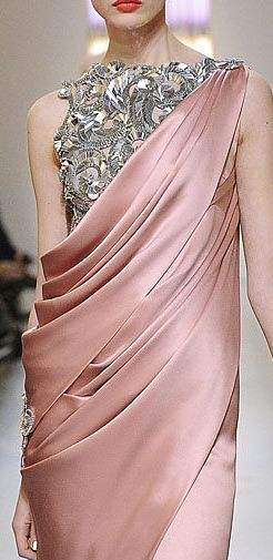 •❈• Chanel This is one of my favorites! Love this hue of pink and the draping of the fabric And of course the bling!