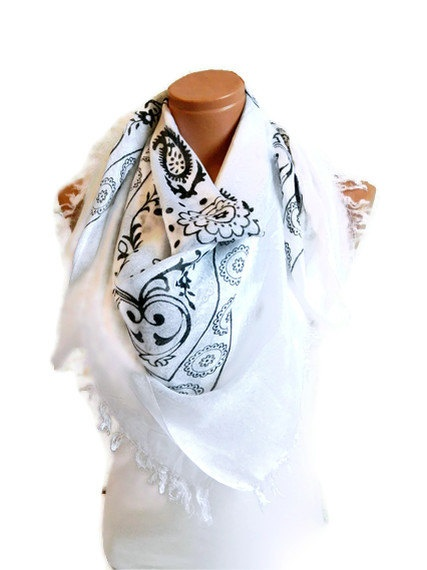 White Black Woman Scarf Turkish Yemeni OYA by WomanStyleStore, $21.00