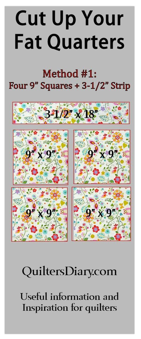 """Efficient ways to cut up your fat quarters to use in quilts. This one produces four 9"""" squares and one 3-1/2"""" x 18"""" strip. Get more useful quilting info at QuiltersDiary.com."""