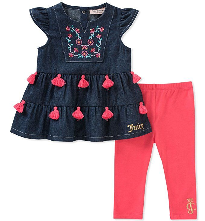 Amazon Com Juicy Couture Girls Fashion Top And Legging Set Clothing Girls Couture Kids Fashion Dress Juicy Couture