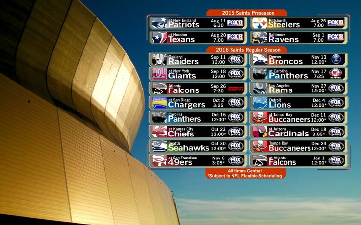 2016 New Orleans Saints Football Schedule