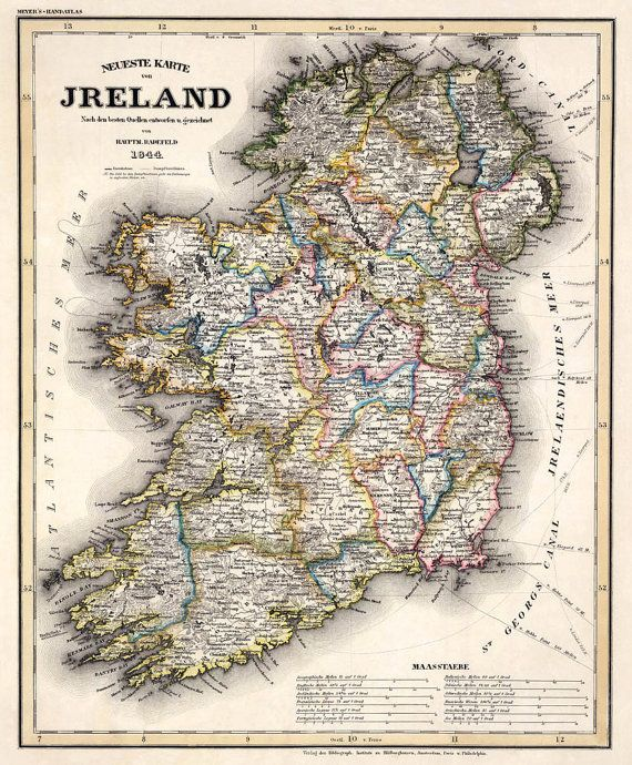 "Old map of Ireland - Antique maps - Historic map of Ireland - Vintage map of Ireland Print - 16 x 19 "" on Etsy, £18.51"