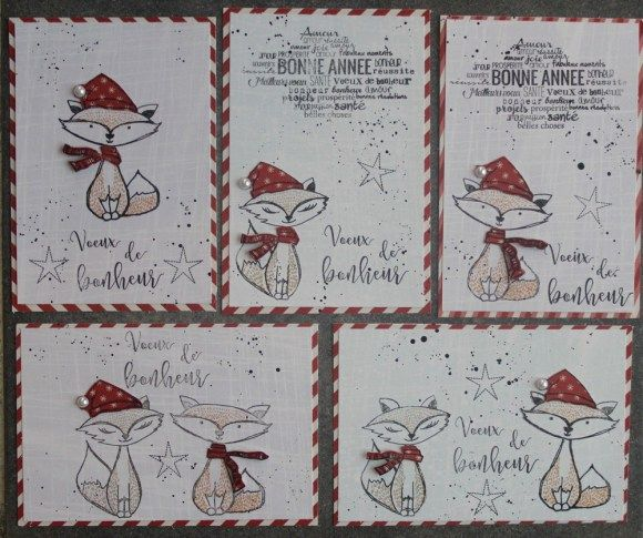 bonjour, voici une série de cartes de vœux pour la nouvelles année =) avec les tampons renards que j'adore =) et voici la liste de fournitures Infocrea utilisées : papiers Noël Nordique (SET-EXTEND...