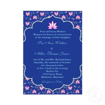 Navy pink Indian wedding invitation