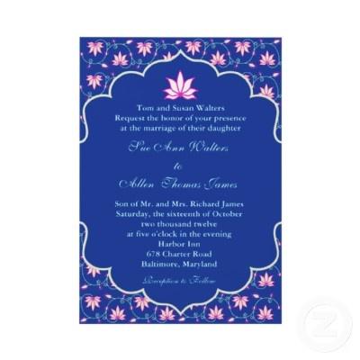 Navy pink Indian wedding invitation