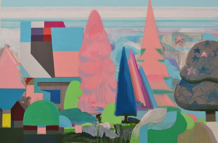House surrounded by conifers, 2015. Acrylic on canvas size: 100x150 cm | Flickr - Photo Sharing!